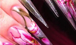 Пошаговая акварельная роспись ногтей
